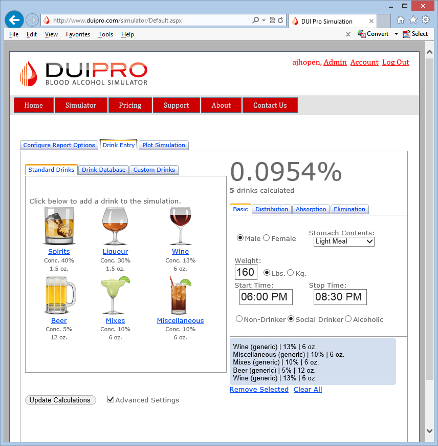 DUI Pro drink database of over 1,000 profiles used to alcohol blood alcohol levels